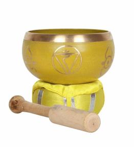 Tibetan Brass Singing Bowl - 3rd Yellow Solar Plexus Chakra Manipura