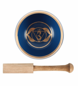 Tibetan Brass Singing Bowl - 6th Deep Blue Third Eye Chakra Ajna