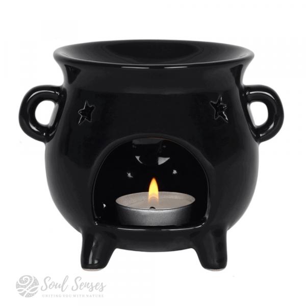 Ceramic Black Witches' Cauldron Oil Burner & Wax Melter