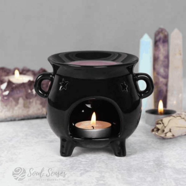 Ceramic Black Witches' Cauldron Oil Burner & Wax Melter with candle