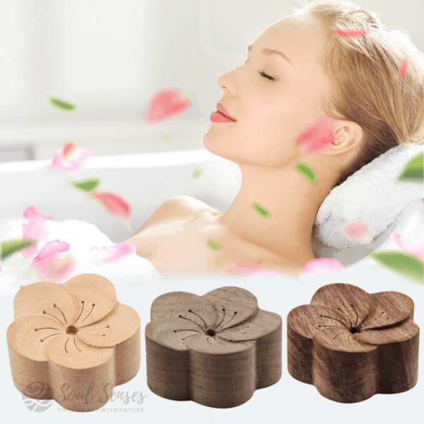 Essential Oil Aromatherapy Wooden Flower Diffuser in the bathroom