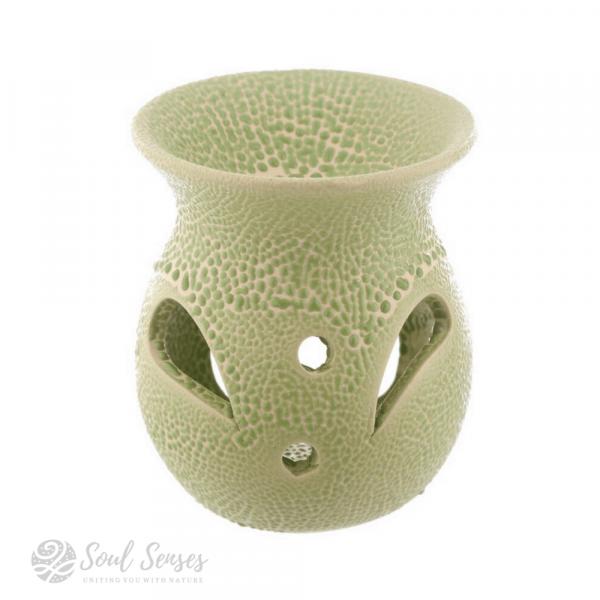 Olive Green Ceramic Crackled Glaze Cut Out Pattern Oil Burner