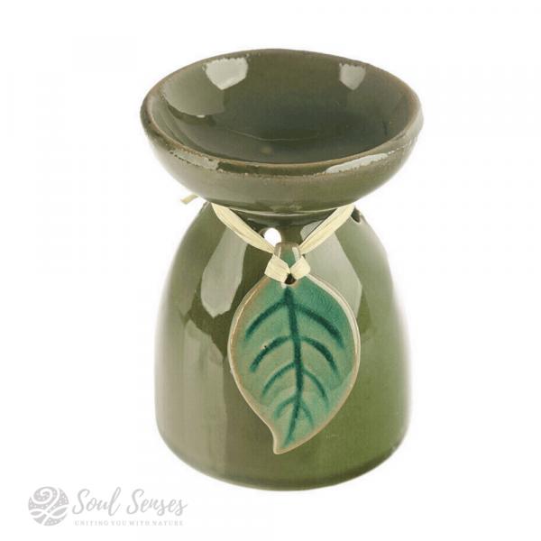Green Ceramic Tropical Leaf Oil Burner & Wax Melter