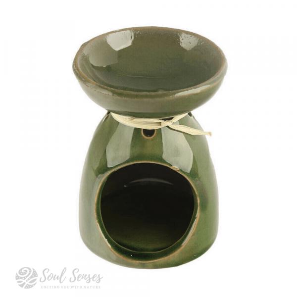 Green Ceramic Tropical Leaf Oil Burner & Wax Melter - back