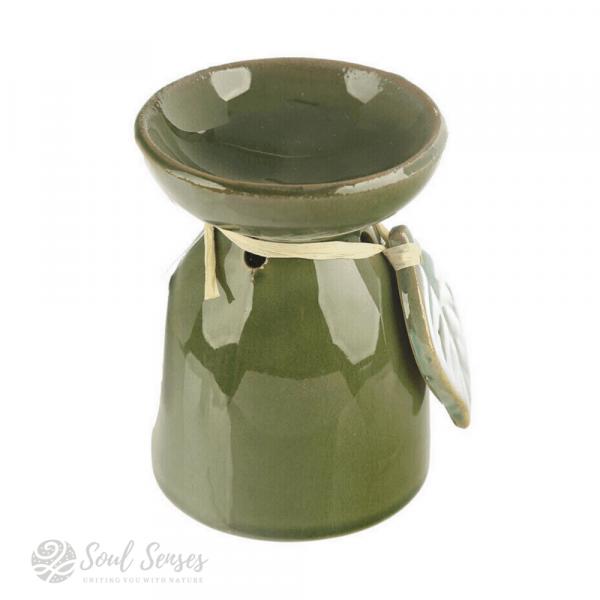 Green Ceramic Tropical Leaf Oil Burner & Wax Melter - left