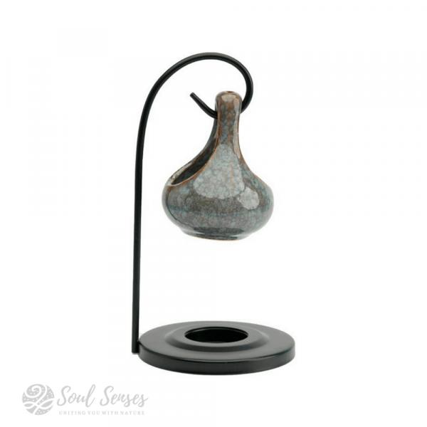 Hanging Teardrop Ceramic Oil Burner With Black Metal Stand - Mottled Duck Egg