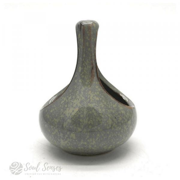 Hanging Teardrop Ceramic Oil Burner With Black Metal Stand - Mottled Duck Egg teardrop