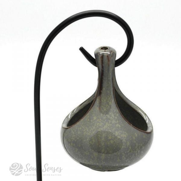 Hanging Teardrop Ceramic Oil Burner With Black Metal Stand - Mottled Duck Egg teardrop - front
