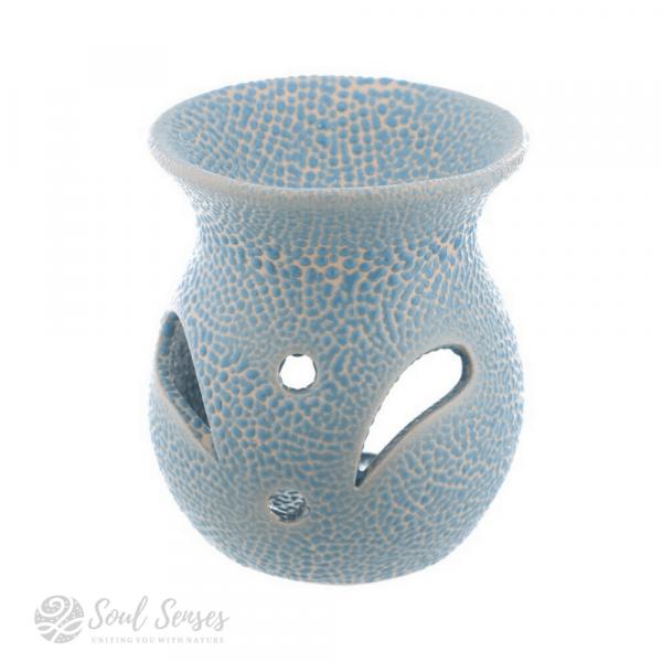 Light Blue Ceramic Crackled Glaze Cut Out Pattern Oil Burner