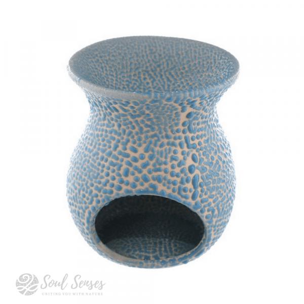 Light Blue Ceramic Crackled Glaze Cut Out Pattern Oil Burner - back