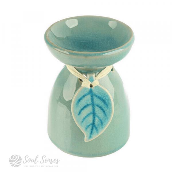 Teal Ceramic Tropical Leaf Oil Burner & Wax Melter