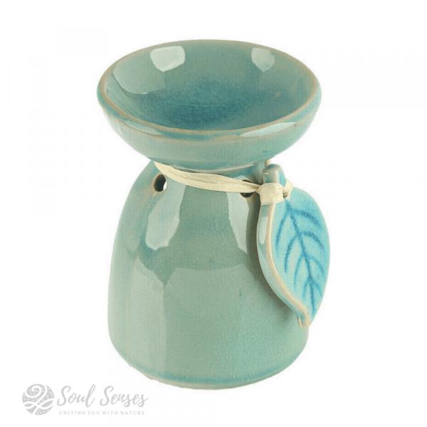 Teal Ceramic Tropical Leaf Oil Burner & Wax Melter- right