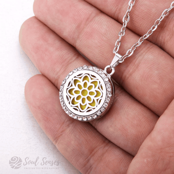 Essential Oil Aromatherapy Diffuser Round Pendant - Mandala in hand