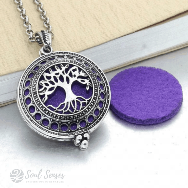 Essential Oil Aromatherapy Diffuser Round Vintage Locket - Tree Of Life