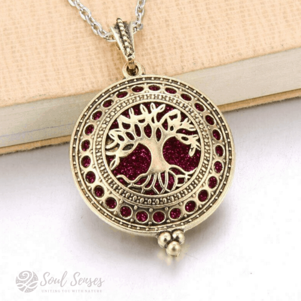 Essential Oil Aromatherapy Diffuser Round Vintage Locket - bronze Tree Of Life and glitter pad
