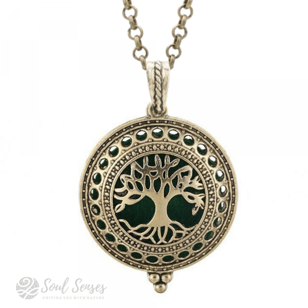 Essential Oil Aromatherapy Diffuser Round Vintage Locket - bronze Tree Of Life