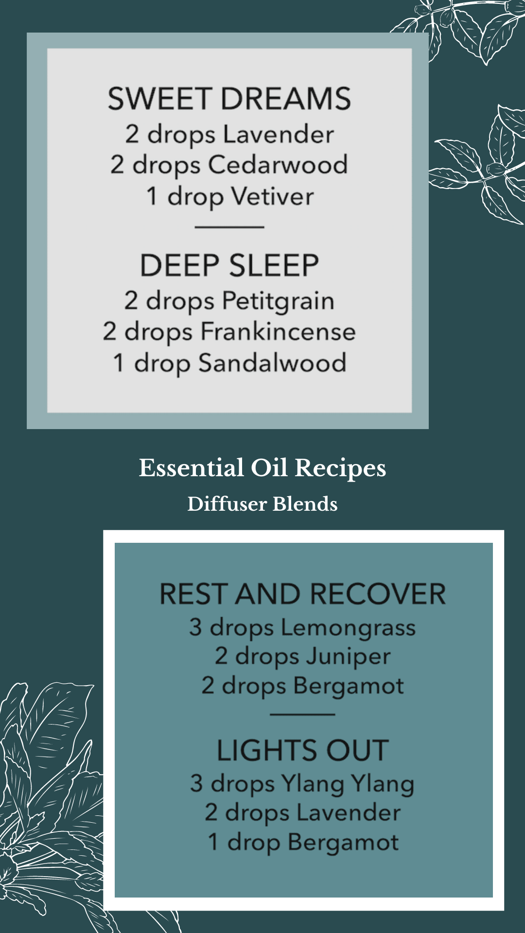 Essential Oil Diffuser Blend Recipes To Help With Sleep or Insomnia