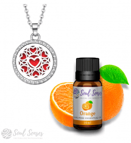 Hearts Small Round Pendant & Orange Bundle Set