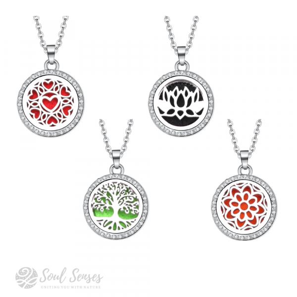 Soul Senses Small Round Aromatherapy Diffuser Pendants with Chain