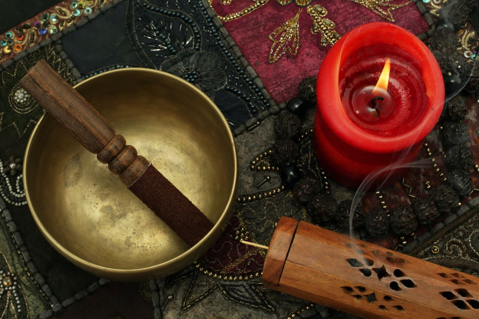 Tibetan Style Brass Singing Bowl with Mullet and Red Candle