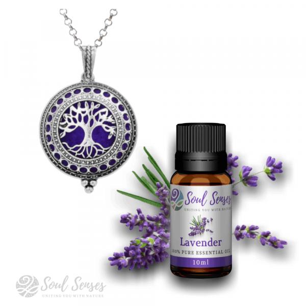 Tree of Life Silver Pendant & Lavender Essential Oil Bundle Set